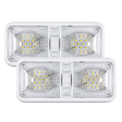 Kohree 12V Led RV Ceiling Dome Light RV Interior Lighting for Trailer Camper with Switch, White(Pack of 2): Automotive