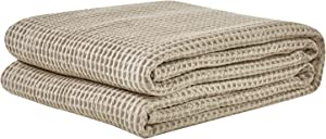 PHF Cotton Waffle Weave Bed Blanket Christmas Decorations Perfect for Bed Home Decor in Winter King Size Dark Khaki