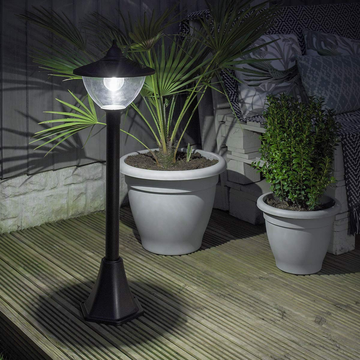 Festive Lights - Luci LED a energia solare, per esterni, colore  Nero, Modern - Leds bianca, H 120cm 1-flammig