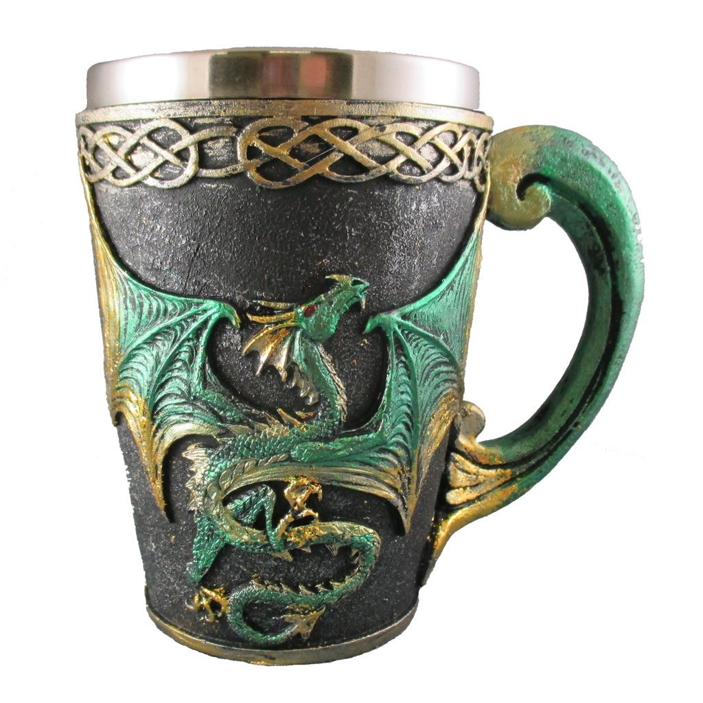 Medieval Dragon Tankard, Celtic Drinking Beer Glass, Fantasy Pagan Cup, Green & Gold Mythical Mug Everspring Import Company SW-15