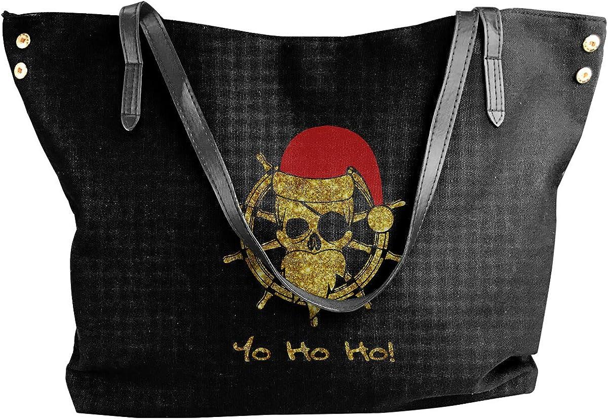 Pirate Santa Funny Christmas Pirates Womens Canvas Hobo Handbags Shoulder Bag Tote Bag