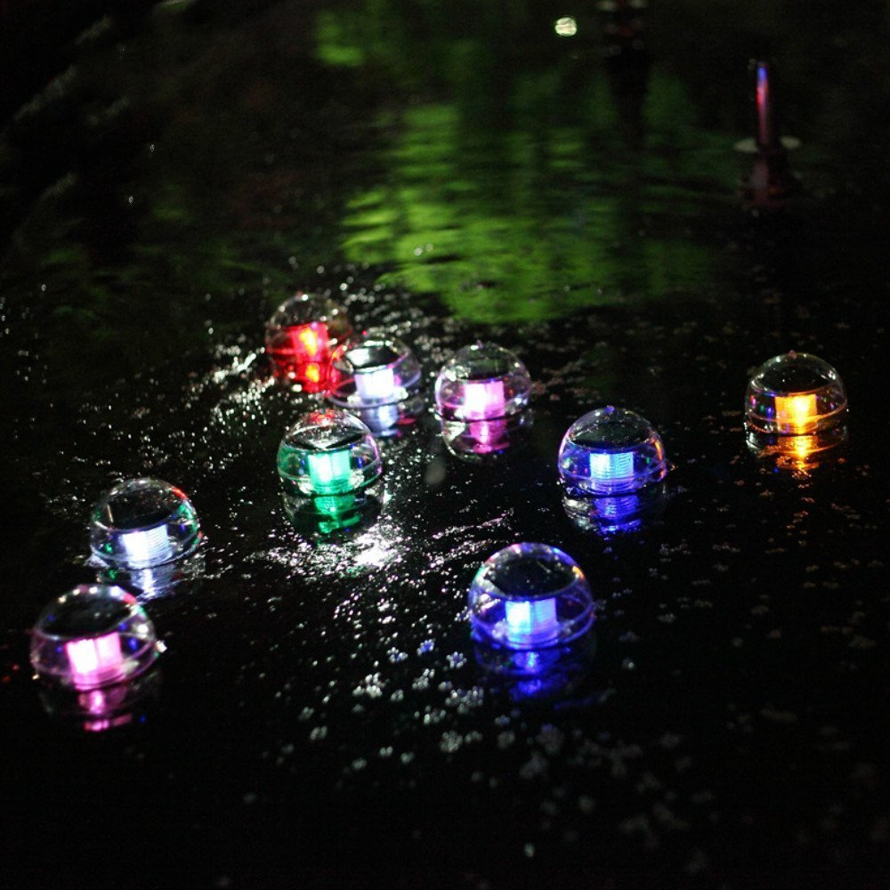 Outdoor Solar Floating Pond Light Solar Lamp Solar Pool Lights ABS Plastic Waterproof Color Automatic Alternating Garden Lights for Garden Swimming Pool 11cm(Pack 2)