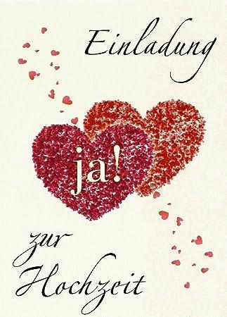 Einladungskarten Hochzeit Mit Innentext Motiv Herzen Ja 18