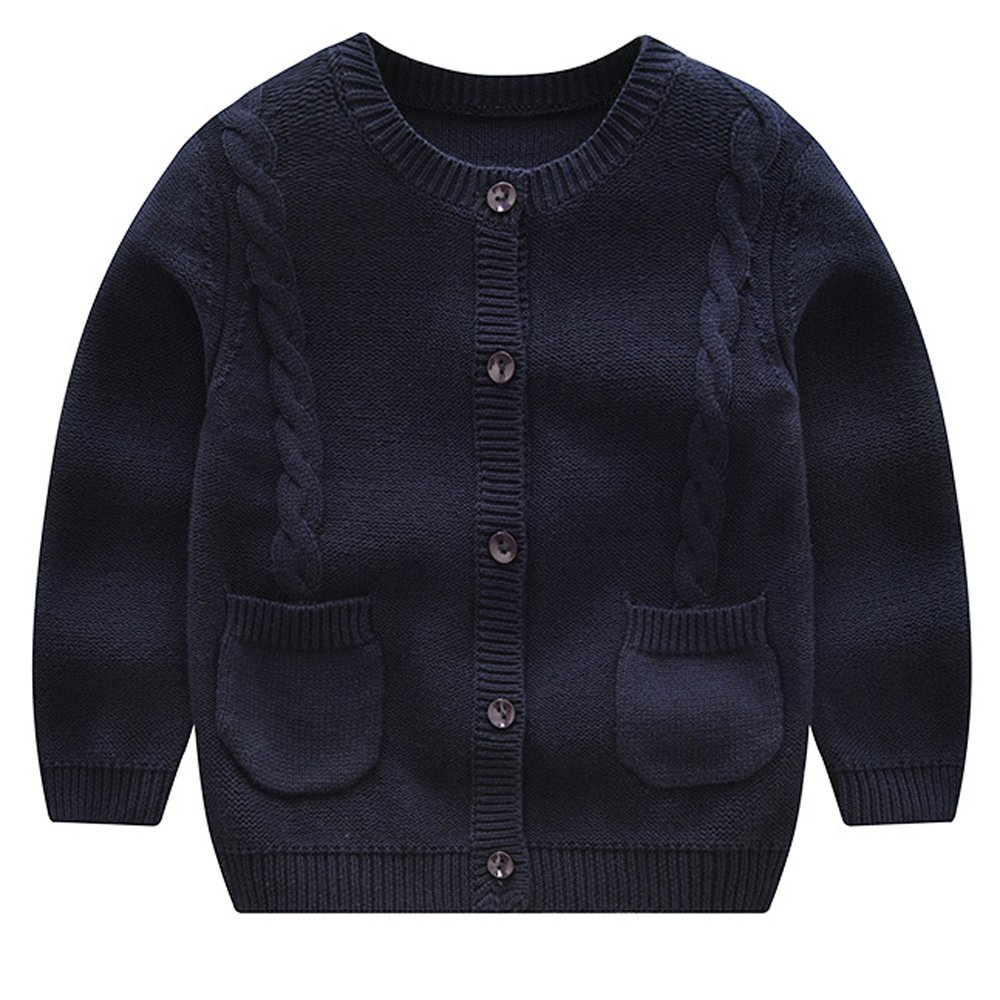 Thgonwid Baby Boys Sweater Cardigan Spring Autumn Long Sleeve Buttons Closure Twist Coats