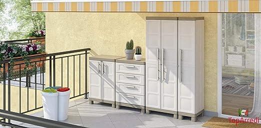 Keter Excellence Armario con una Puerta, Arena/Gris, 182 x 33 x 45 cm: Amazon.es: Hogar