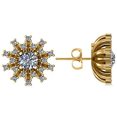 adec70d96 Image Unavailable. Image not available for. Color: Diamond Sunburst Earrings  14k Yellow Gold ...