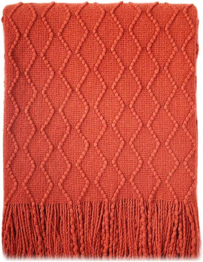 """BOURINA Textured Solid Soft Sofa Throw Couch Cover Knitted Decorative Blanket, 50"""" x 60"""", Rust"""