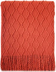 "BOURINA Textured Solid Soft Sofa Throw Couch Cover Knitted Decorative Blanket, 50"" x 60"", Rust"
