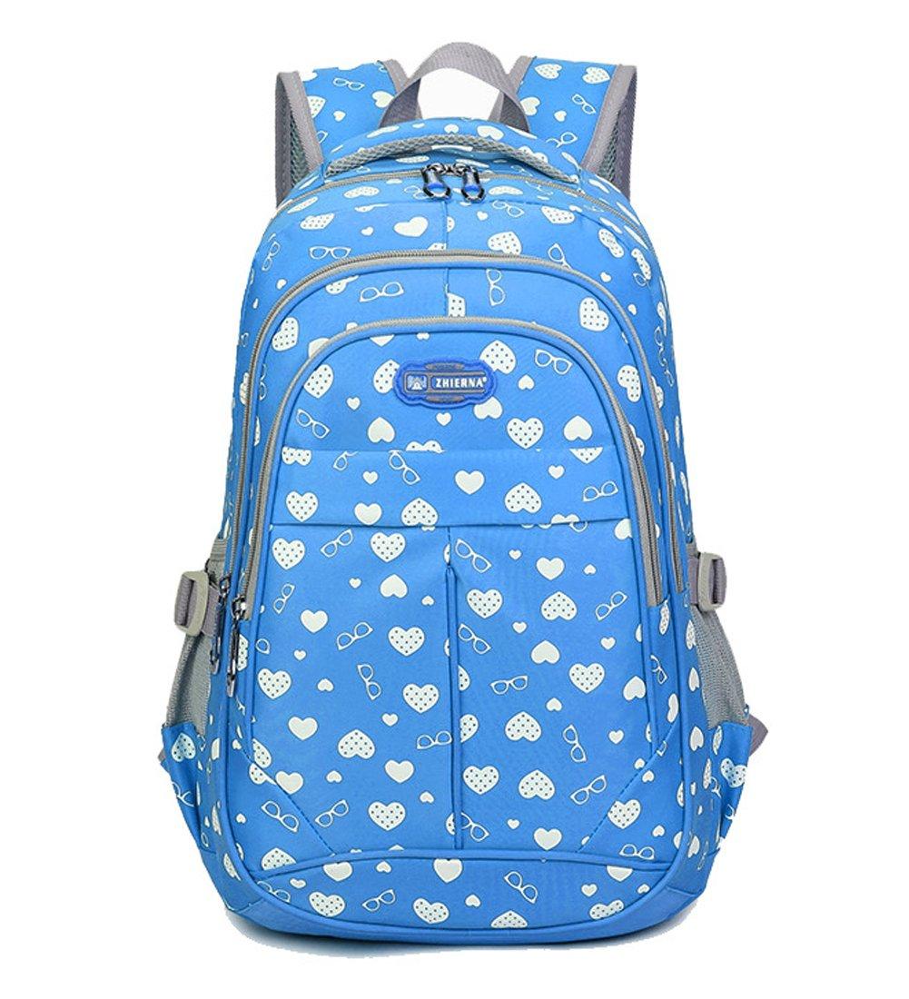 Fanci Teenager Girls Love Heart Print Backpack School Student Laptop Book Bag (blue)