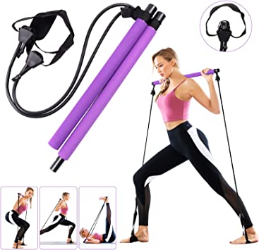 Kit de barra de Pilates con banda de resistencia, gimnasio multifuncional portátil para el hogar, ejercicio de Pilates Stick, entrenamiento total del ...