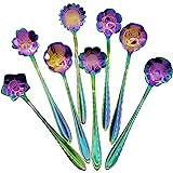 Flower Spoon Set - DGQ Stainless Steel Teaspoon Colorful Coffee Spoon - 8 Sets Mini Tea Spoon Mixing Spoon Sugar Spoon