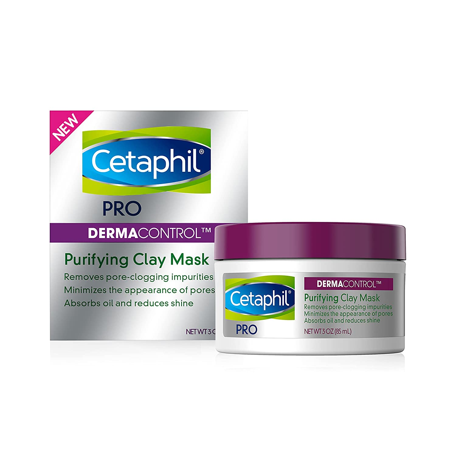 Clay Mask by Cetaphil Pro, Dermacontrol Purifying Clay Face Mask with Bentonite Clay for Blackheads and Pores, Designed for Oily, Sensitive Skin, 3 oz: Beauty