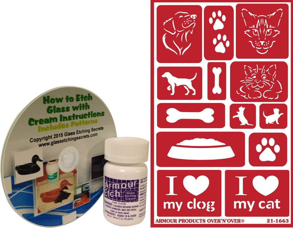 Glass Etching Kit, Pet Themed with Dog and Cat Stencils + How to Etch CD & Cream (10 oz) by Armour Etch