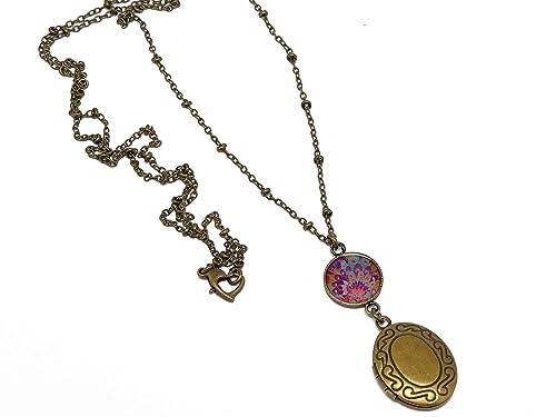 Retro resina collar portafotos plumas azul latón rosa bronce ...