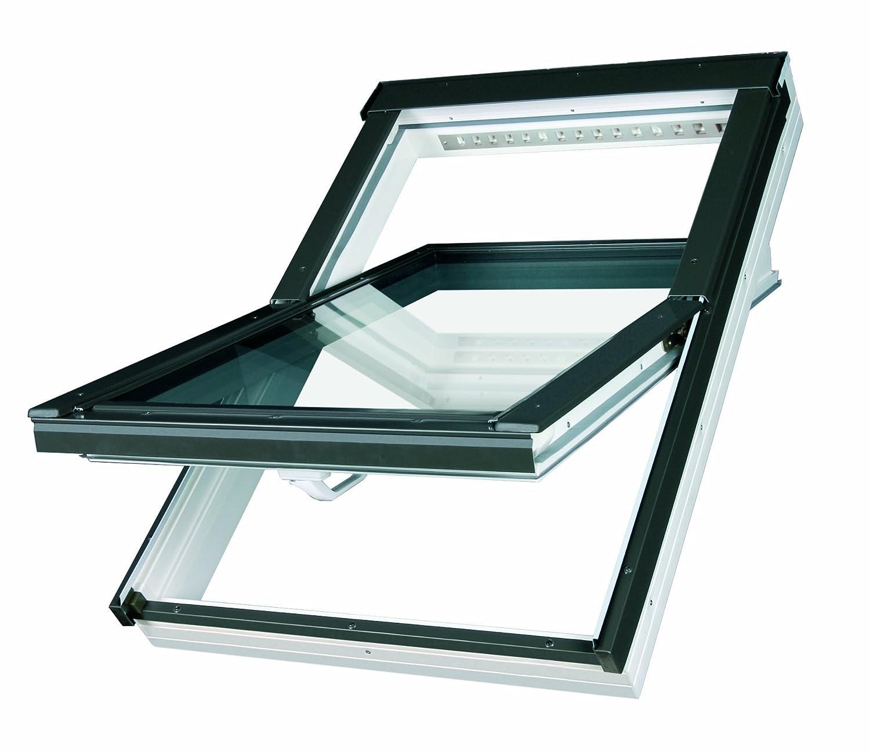 Dachfenster Fakro Schwingfenster 55x98cm Kunststoff mit Dauerlüftung V35 Standardverglasung U3 mit Eindeckrahmen für Biber