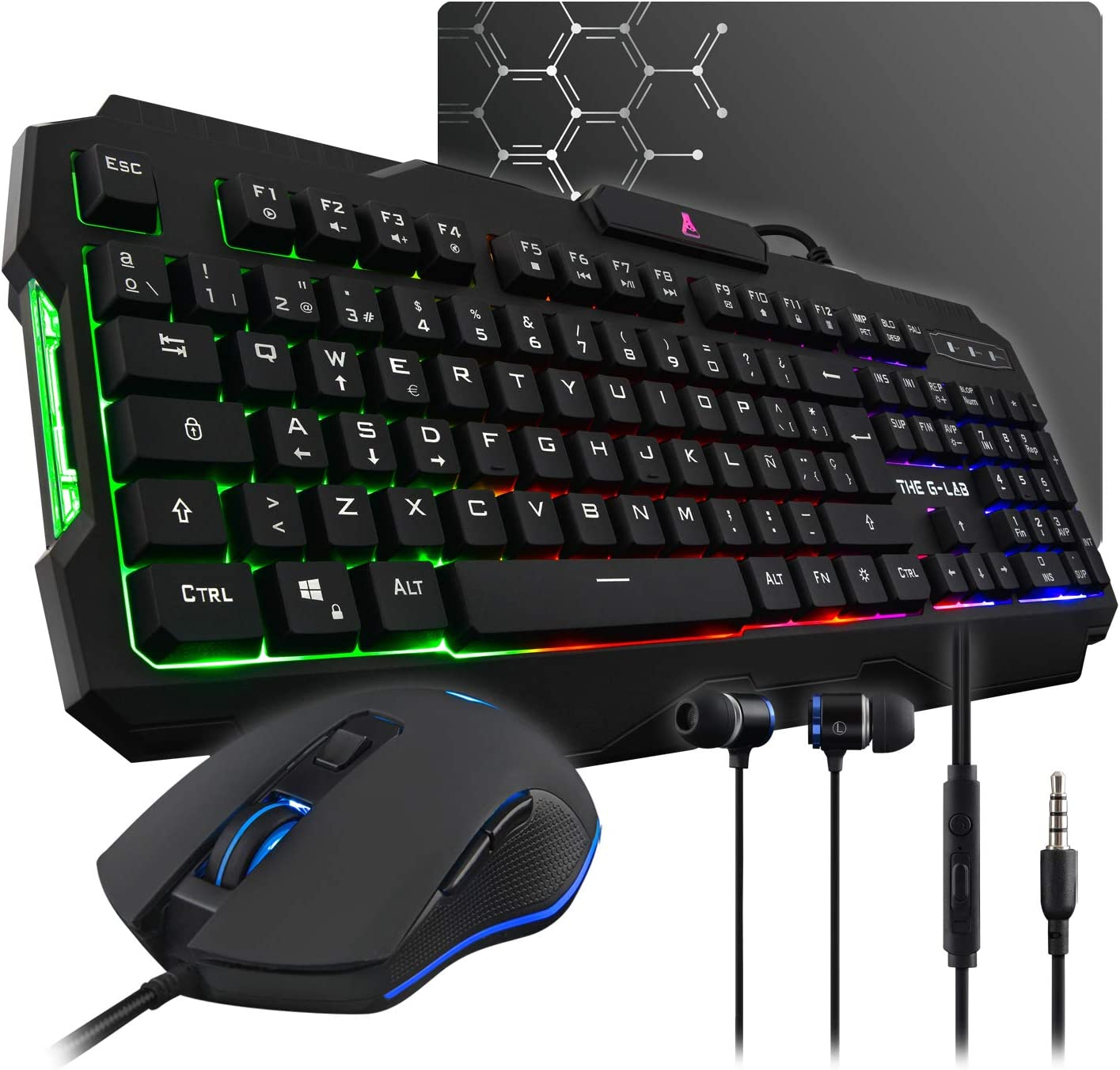 THE G-LAB Combo HELIUM 4 en 1 Gaming Bundle - Teclado Gaming QWERTY – Incluye Ñ - Retroiluminado, Ratón Gaming de 2400 DPI, Auriculares in-ear, Alfombrilla de Ratón Antideslizante – PC PS4 Xbox One