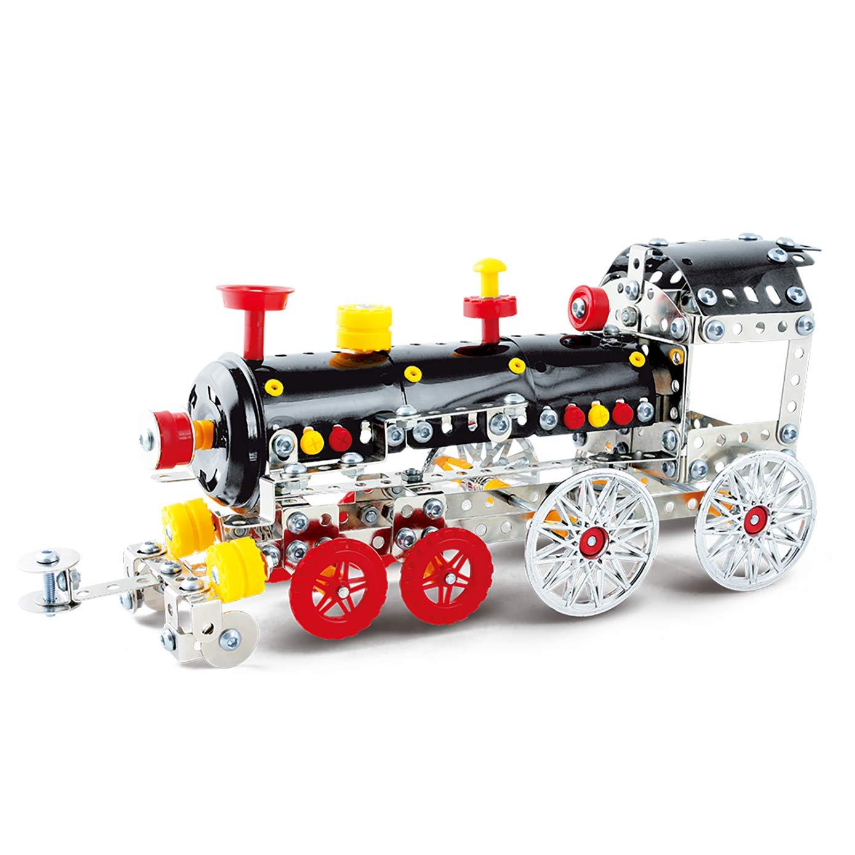 DIY Metal Model Building Kit Build and Play Toy Set STEM Learning Sets Erector Sets Kids Toys (Locomotive)