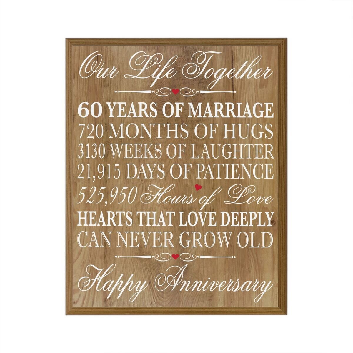 "60th Wedding Anniversary Wall Plaque Gifts for Couple, 60th Anniversary Gifts for Her,60th Wedding Anniversary Gifts for Him 12"" W X 15"" H Wall Plaque By ..."