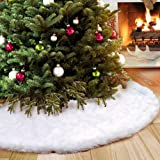 "Aparty4u Faux Fur Christmas Tree Skirt, 48"" Tree Skirt White Xmas Tree Skirt for Holiday Christmas Decoration Indoor Outdoor"