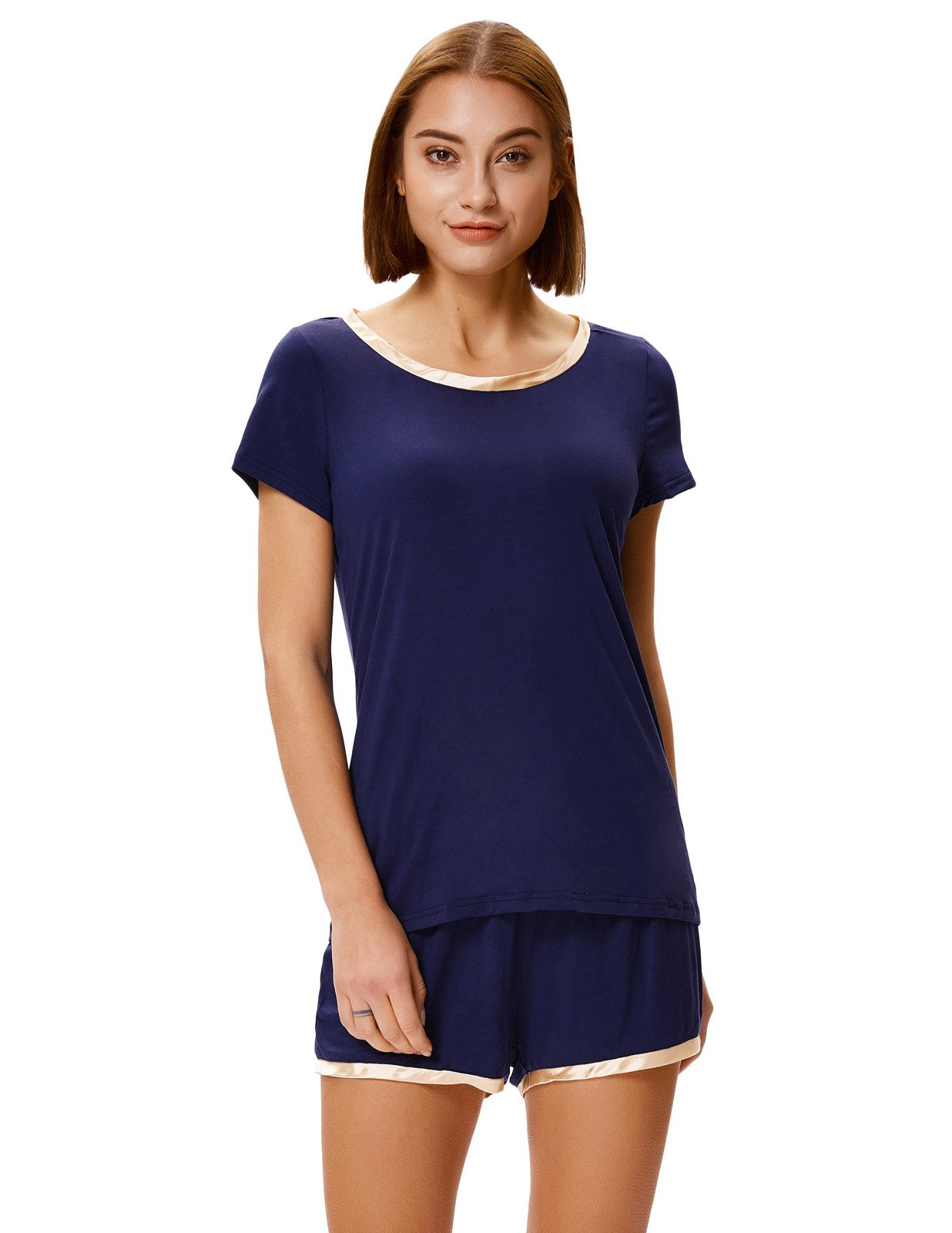 Zexxxy Short Sleeve PJS for Women Two Piece with Satin Neckline for Summer Navy Blue M