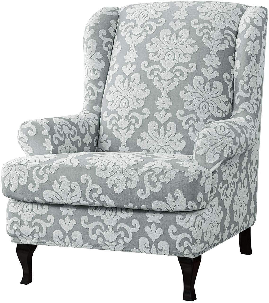 MO&SU Stretch Wingback Chair Sofa Slipcover, 2-Pieces Jacquard Sofa Cover Wing Chair Furniture Protector Couch Covers for Wing Back Armchair-(Sofa Cover+Cushion Cover)-Light Gray