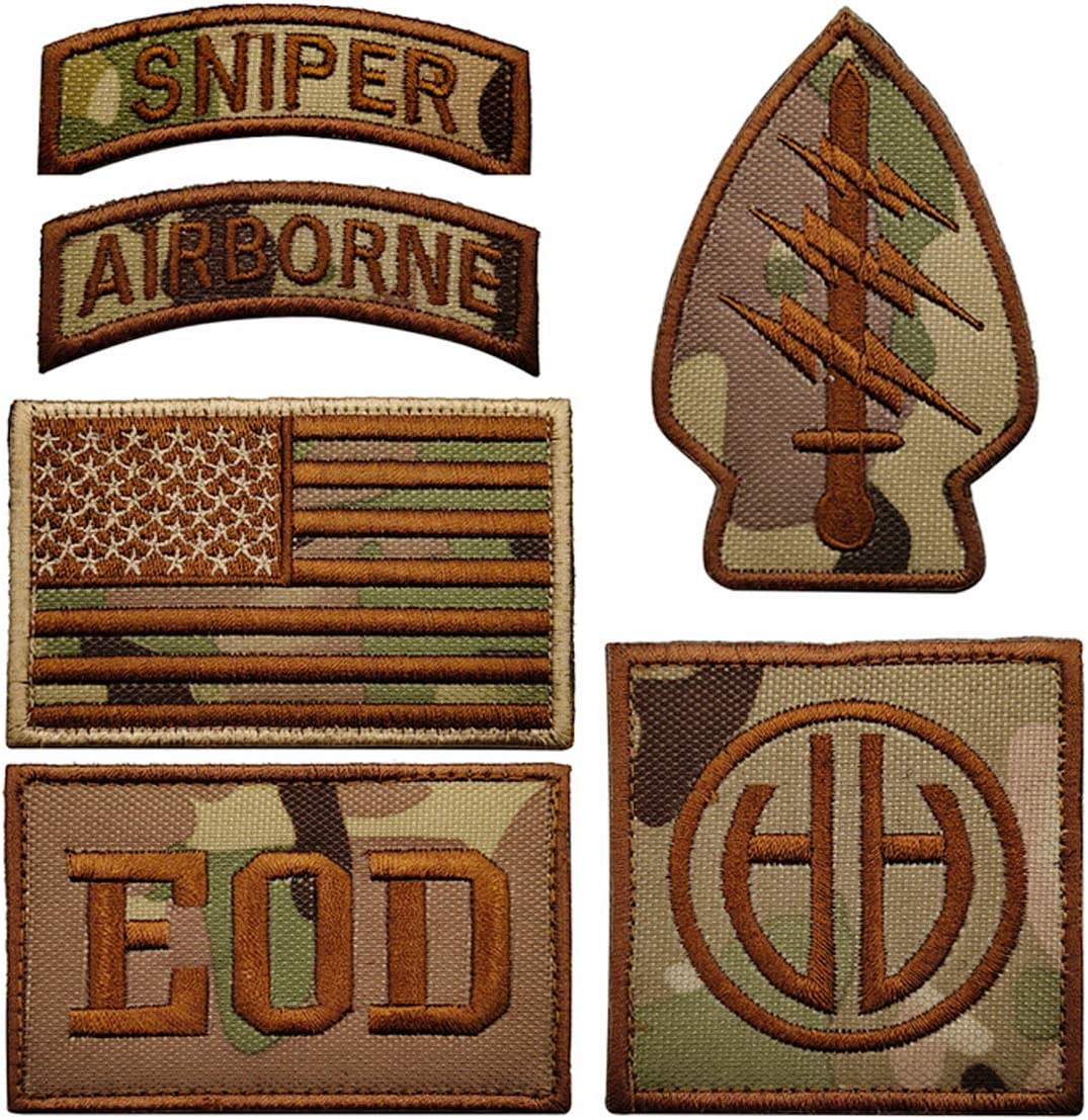 Military Patches, Tactical American Flag Patches Special Sniper Airborne EOD Badges 6 Pieces Hook and Loop Embroidered Morale Patch