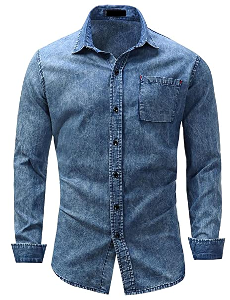 6e6debca223 Suncolor8 Men s Slim Fit Long Sleeve Button UP Denim Jean Shirts Denim blue  M