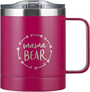 11 fl oz Double Wall Vacuum Insulated Stainless Steel Insulated Camp Coffee Mug Travel Tumbler with Lid and Handle, Hot or Cold Insulation (Mama Bear)