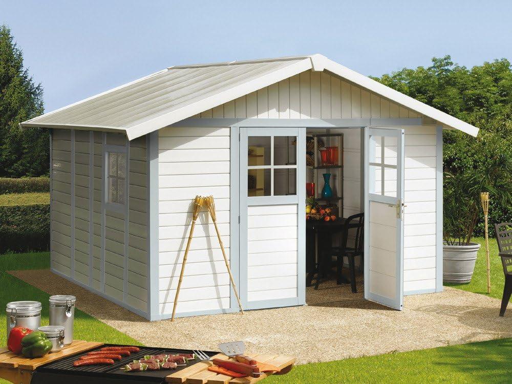 Grosfillex Casa de jardín Deco H 11 de plástico, 315 x 355 cm, color gris y azul