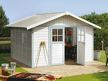 Great Kunststoff Gartenhaus Deco H11 Grau/grün/weiß, 315x355 Cm