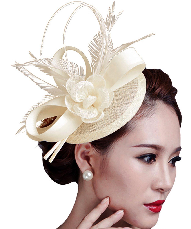 Fascinators Hat, Fascigirl Sinamay Feather Flower Pillbox Hat Hair Clip with Veil Kentucky Derby Hat for Women Girls Party Wedding