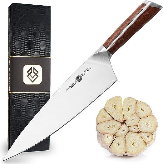 Compra Cuchillos de Chef Cocina Profesionales de 20 cm- Serie FOX - Acero de 15 Grados Afinado Alemán con alto contenido de Carbono hecho para Mecer, Rebanar y Picar - Madera de