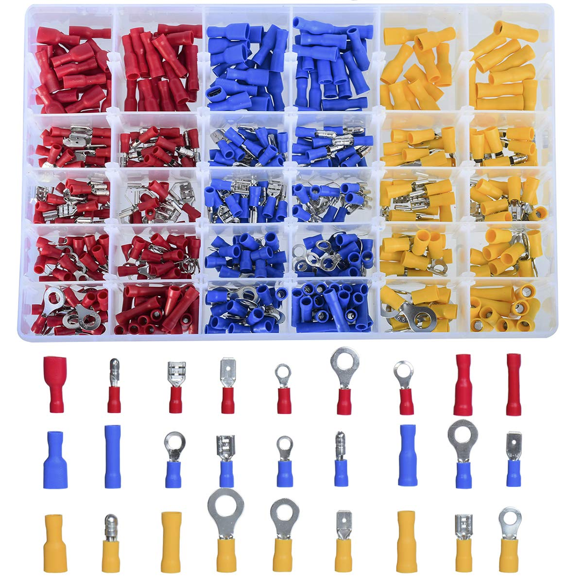 Sunsir 480pcs Wire Terminals Crimp Electrical Wire Connectors Mixed Assorted Lug Kit Insulated Spade Ring Fork Ring Bullet Male Female Auto Wiring Set with Premium Case