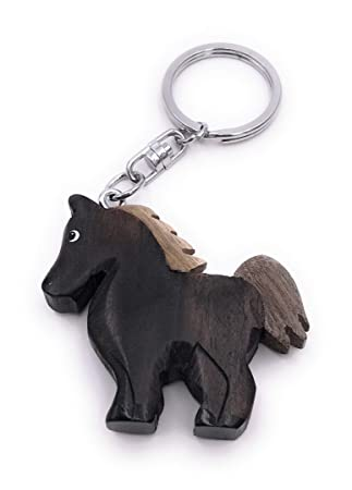 Onwomania Llavero de Madera Caballo Pony Negro Granja Animal ...