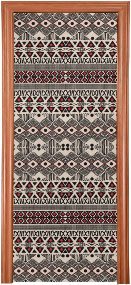 Decoración de arte de puerta Patrón tribal africano Estilo étnico Decoraciones de puerta de entrada de vector Tela duradera Cubierta de puerta de casa Protector de puerta de tamaño múltiple para dorm