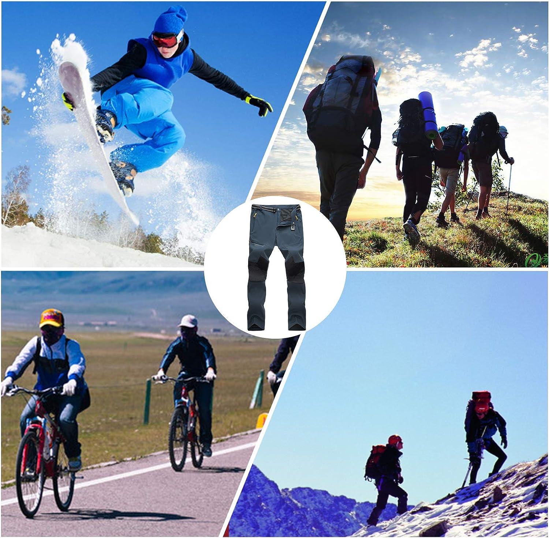 Oweisong Men Outdoor Waterproof Ski Fleece Pants Breathable Hiking Mountain Windproof Trousers