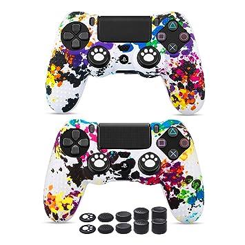 6amLifestyle Funda Protectora Antideslizante de Silicona para Mando PS4, Carcasa para Sony PS4 / PS4 Pro / PS4 Slim Controller (Pintada 2 Fundas de ...