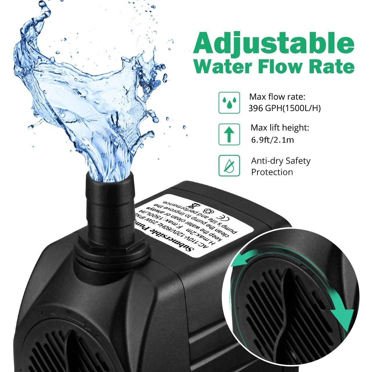 Rendio 396 GPH Submersible Water Pump w/4.9ft Power Cord | Aquarium, Fish Tank, Fountain, Pond, Hydroponics (396PH)