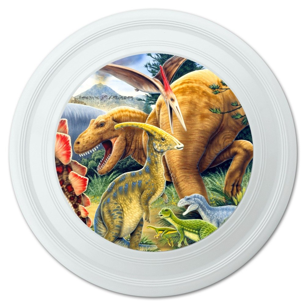 "GRAPHICS & MORE Dinosaurs Jurassic Collage T-Rex Stegasaurus Novelty 9"" Flying Disc"