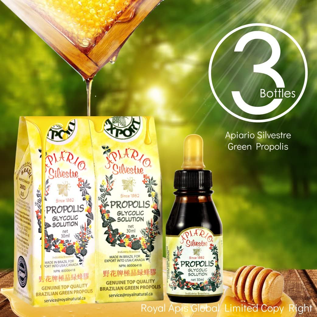 Immune Booster/Immune Support - Official Distributor - 3 Bottles of Apiario Silvestre Brazilian Green Bee Propolis Liquid Glycolic Extract-Non Alcoholic, Wax Free, Sugar Free