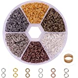 PandaHall Elite 1 Box 6 Colors About 3300 Pcs Iron Plated Jump Rings Unsoldered 4mm Diameter Wire 21-Gauge Jewelry Making Findings