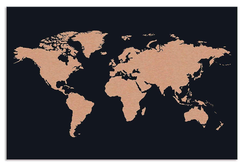 Artland Metallposter Kupfer I Wandbild Metall - Magnet Halterung 67,5x45 cm Alu Poster Querformat Weltkarte Bild Schwarz J2HT