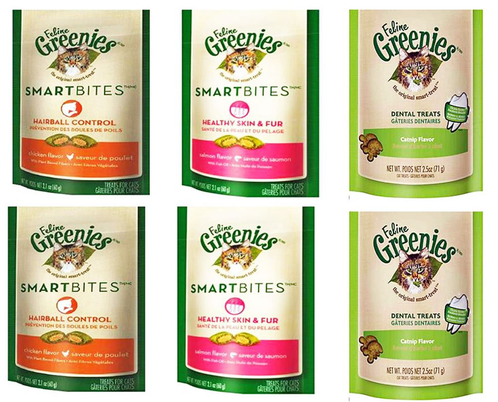 GREENIES Feline Variety Bundle for Cats: Hairball Control (2), Healthy Skin and Fur (2), and Dental Care (2)