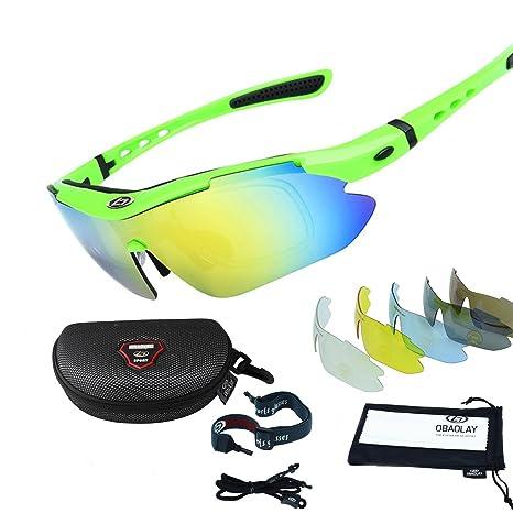 Occhiali da sole sportivi ciclismo occhiali con 5lenti intercambiabili, Green