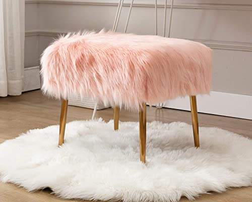 CIMOTA Pink Vanity Stool Square Furry Fur Ottoman Shaggy Long Hair Small Foot Stool