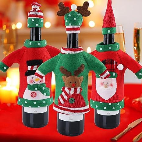 Amazon.com: Hokic - 3 piezas de botella de vino de Navidad ...