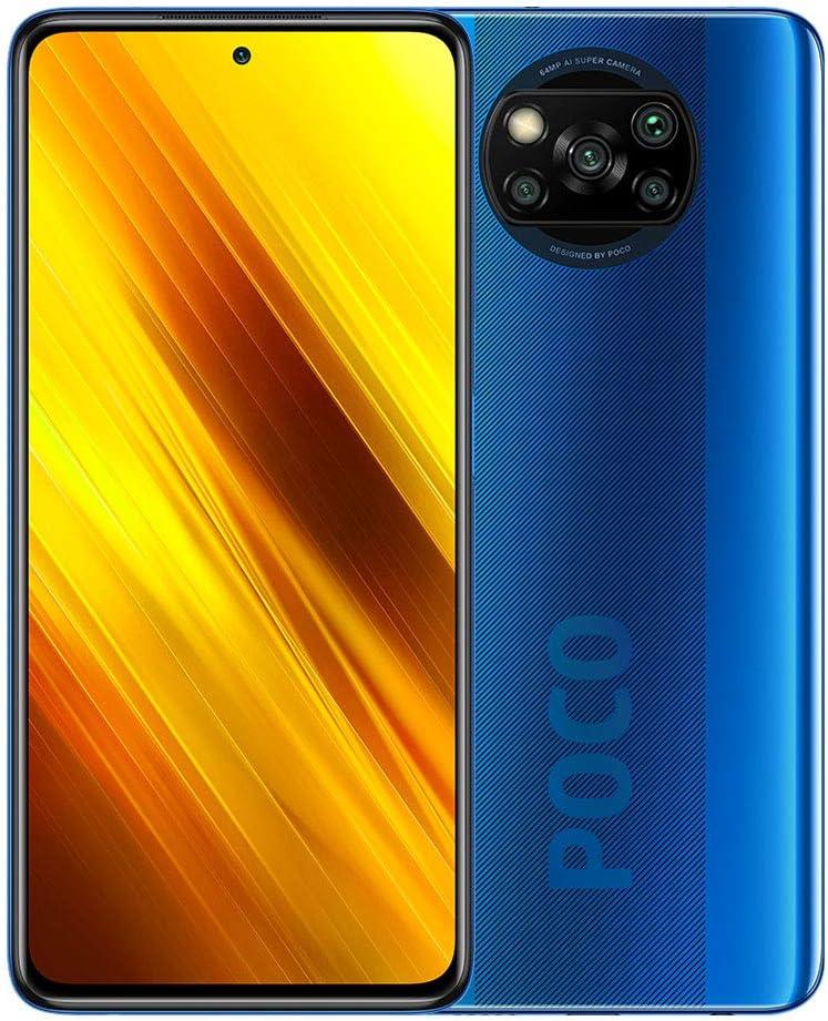 "Xiaomi Poco X3 NFC 128GB, 6GB RAM, 5160mAh (typ) Large Battery, 6.67"" DotDisplay, QUALCOMM Snapdragon GSM LTE Factory Unlocked Smartphone - International Version (Cobalt Blue)"