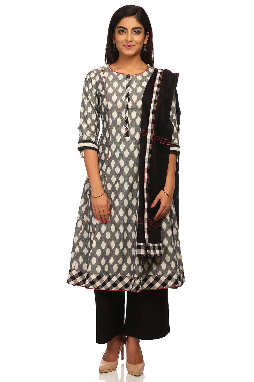 BIBA Women's Black & White Kalidar Cotton Suit Set Size 40