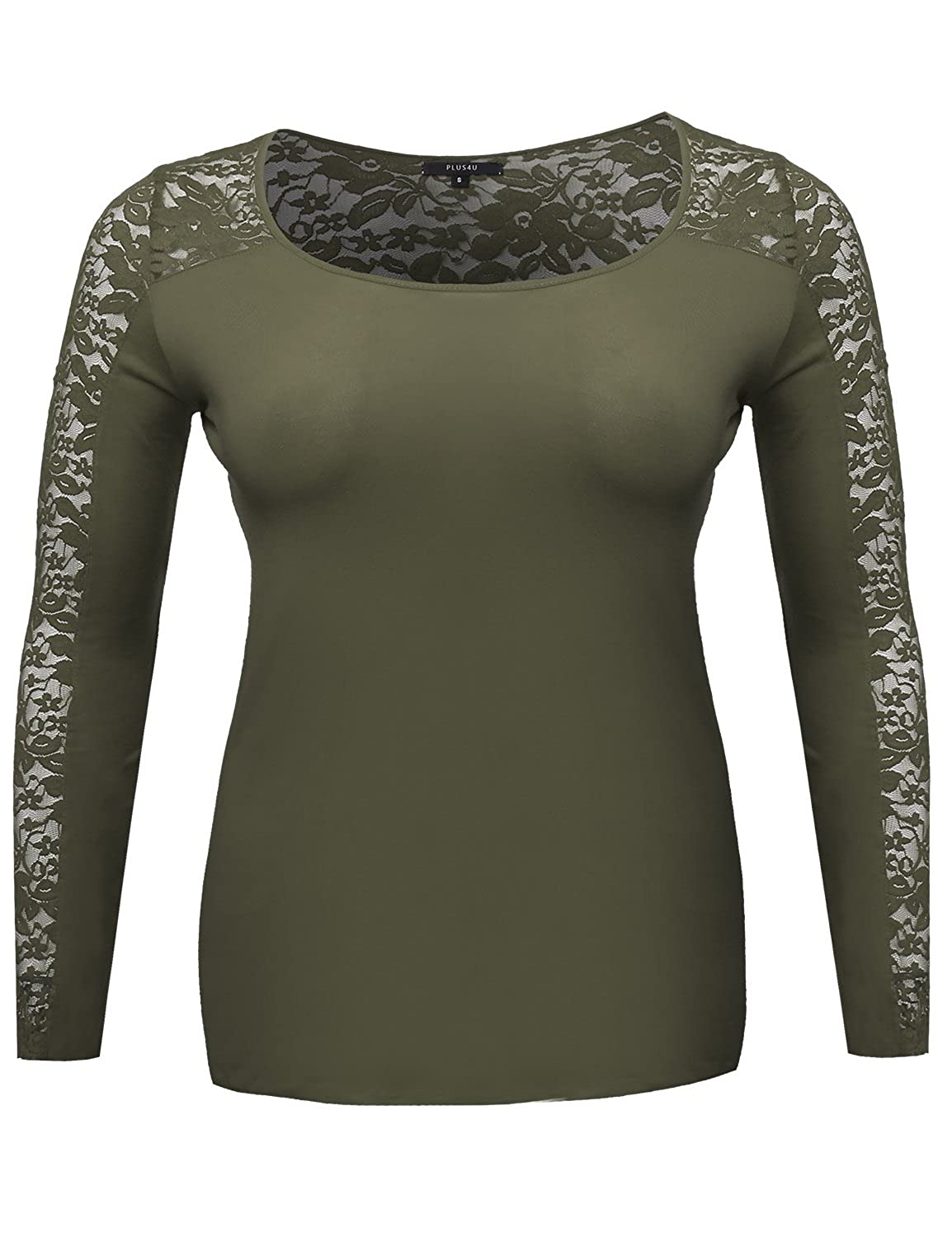 Plus4u Women's Long Sleeve Round Scoop Neck Lace Top