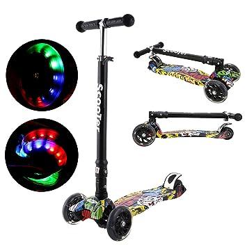 Befied Patinetes para niños 3 ruedas de luces patineta estampada Scooter plegable altura ajustable (77